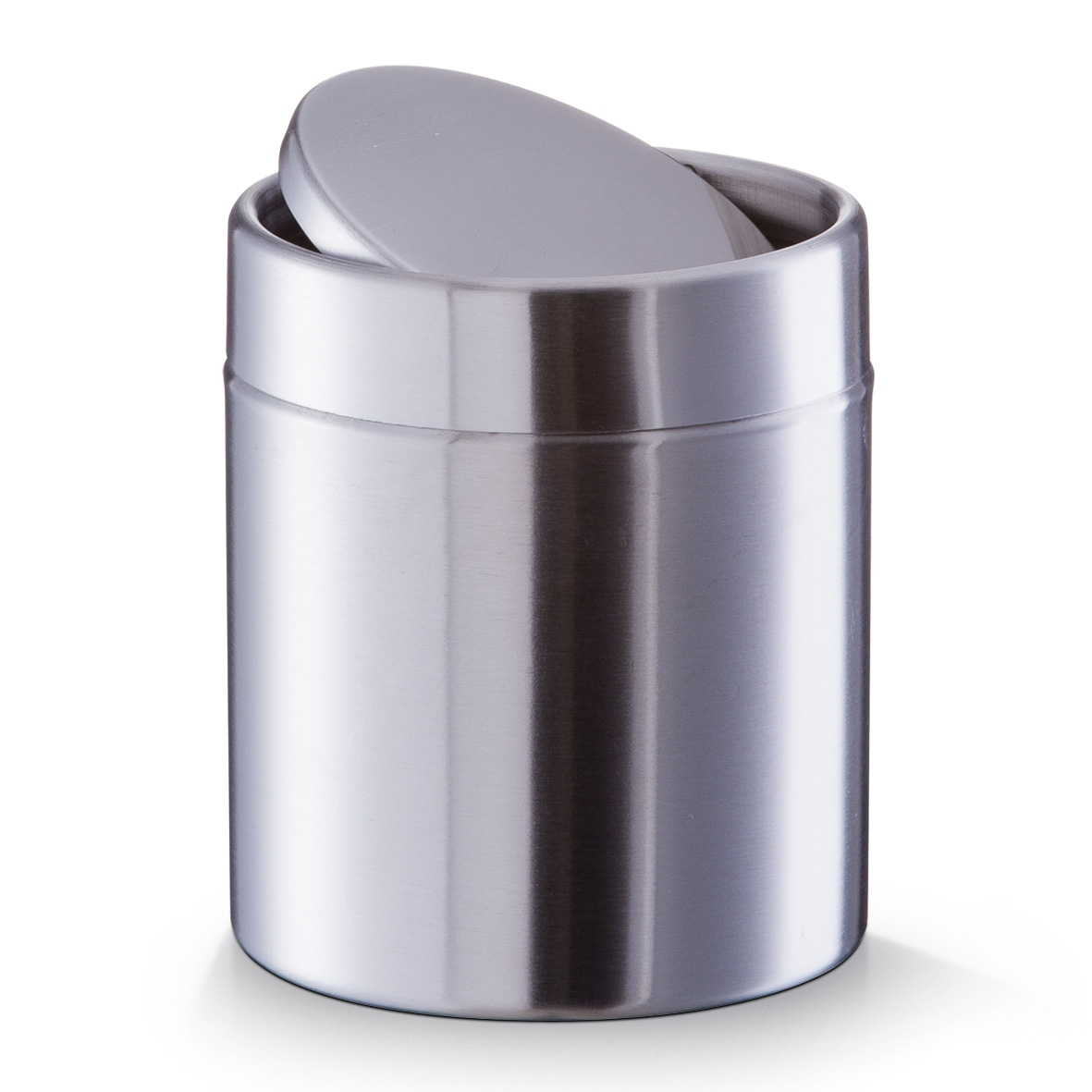 Cos de gunoi metalic cu capac pentru masa, Silver Crom, Ø 11,5xH14 cm poza