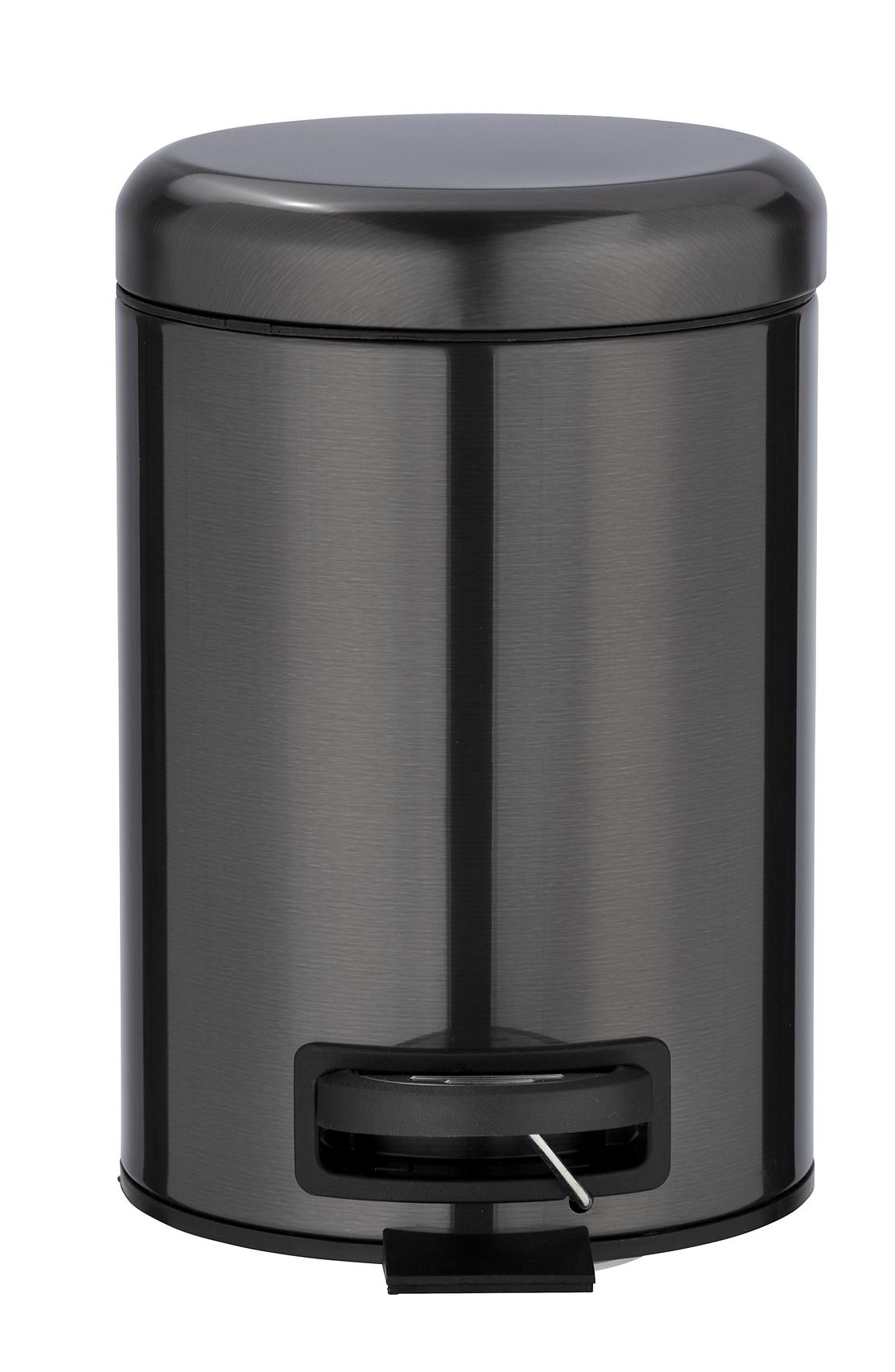 Cos de gunoi cu pedala, din otel inoxidabil, Leman Negru, 3L, Ø17xH25 cm imagine