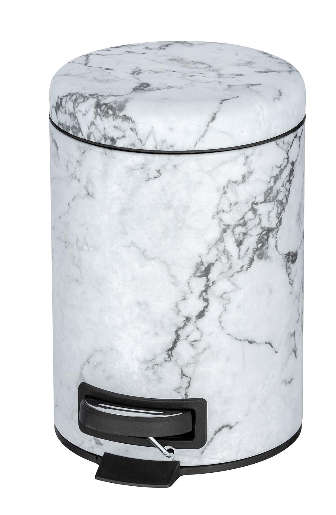 Cos de gunoi cu pedala, din otel inoxidabil, Onyx Alb / Negru, 3L, Ø17xH25 cm