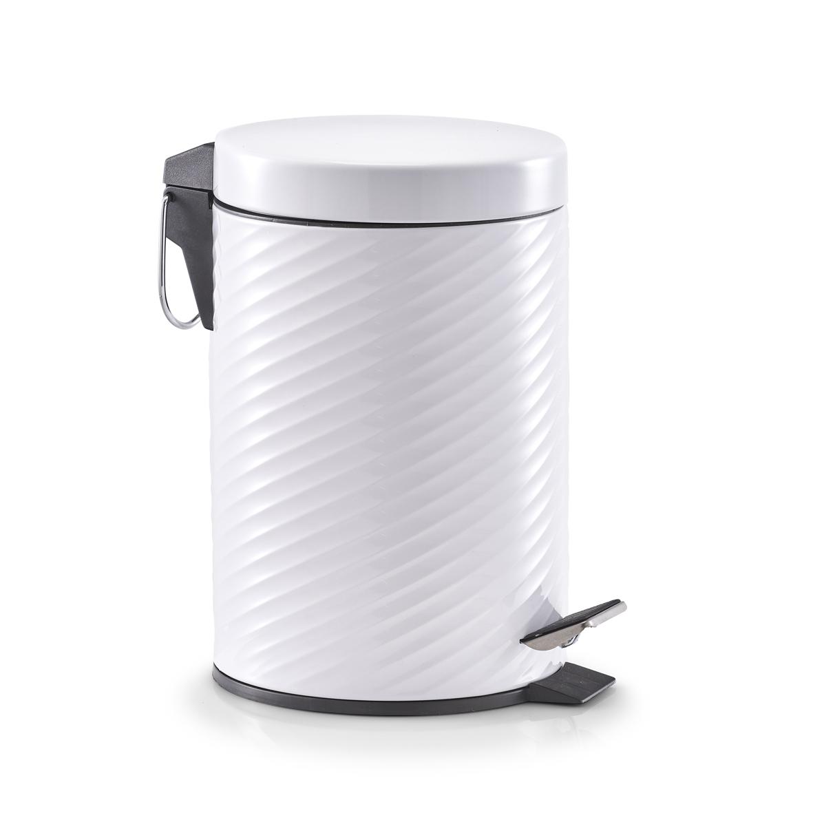 Cos de gunoi cu pedala, Metal Alb, 3L imagine