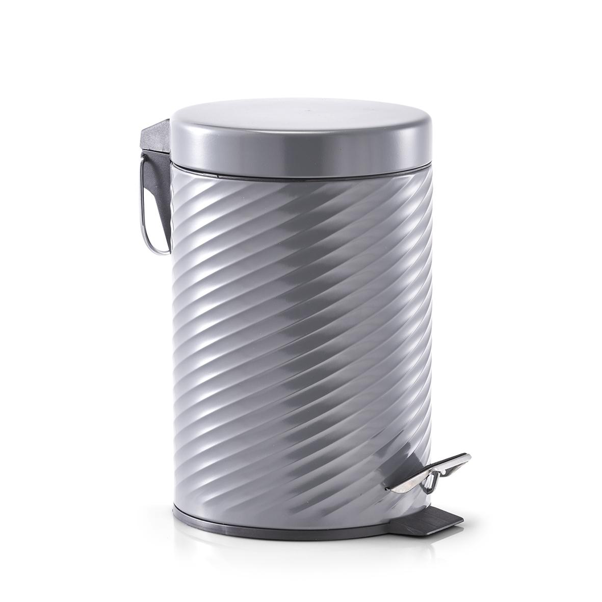 Cos de gunoi cu pedala, Metal Antracit, 3L imagine