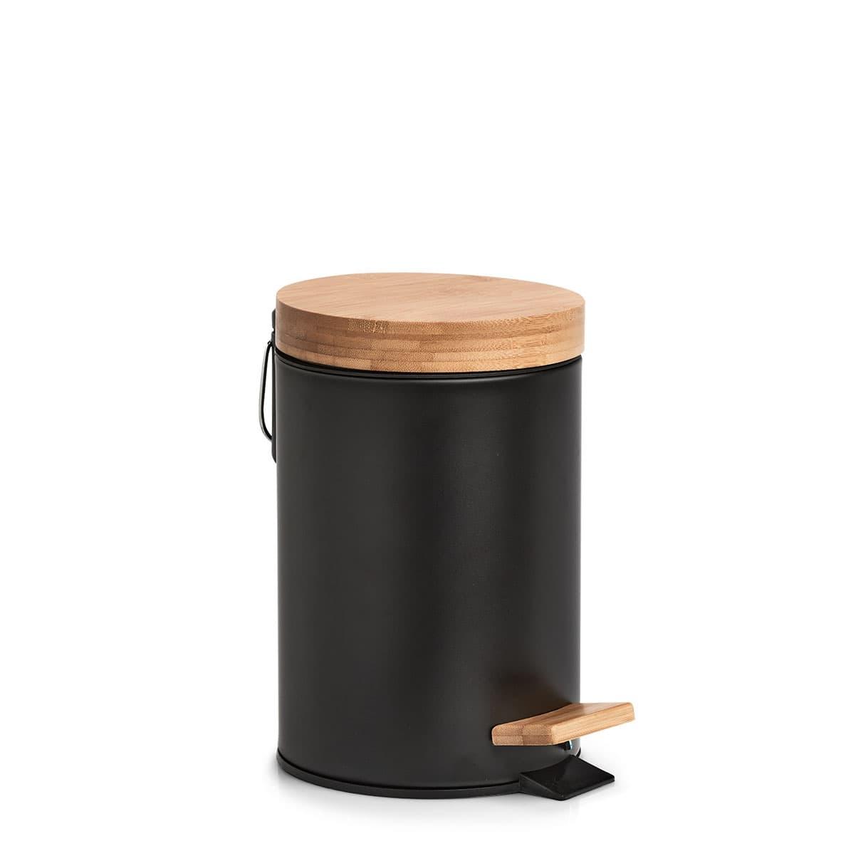 Cos de gunoi cu pedala pentru baie, din metal si bambus, Shade II Negru, Ø16,8xH24 cm imagine
