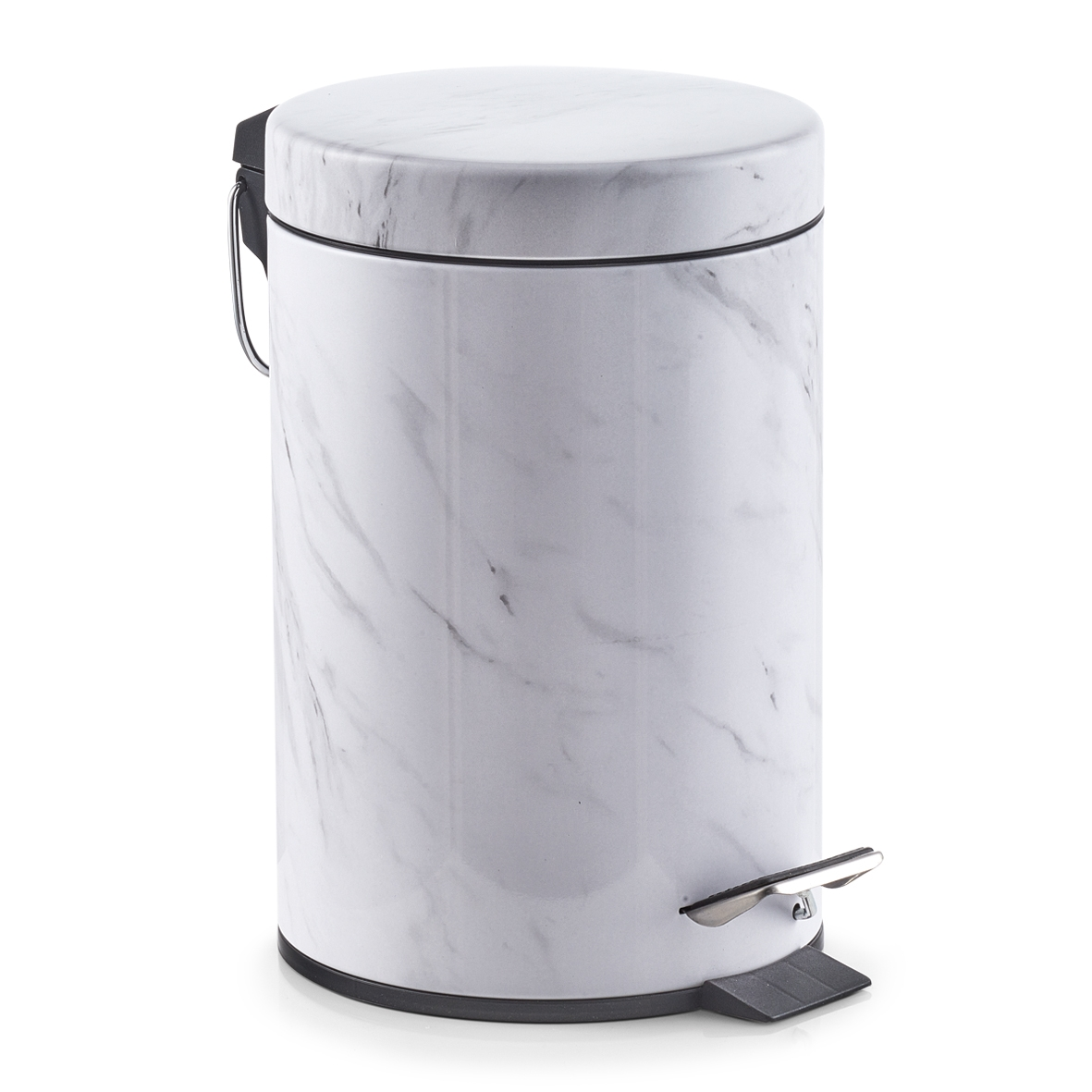 Cos de gunoi cu pedala pentru baie, Marble White, 3L imagine