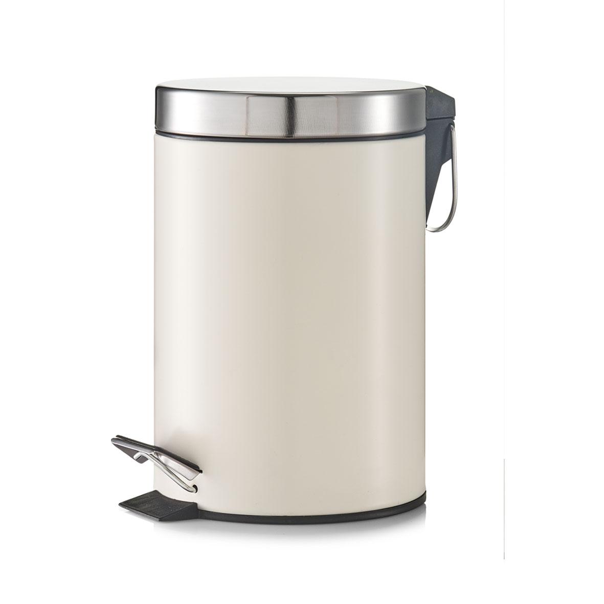 Cos de gunoi cu pedala pentru baie, Metal, Capac argintiu, 3L-Crem imagine