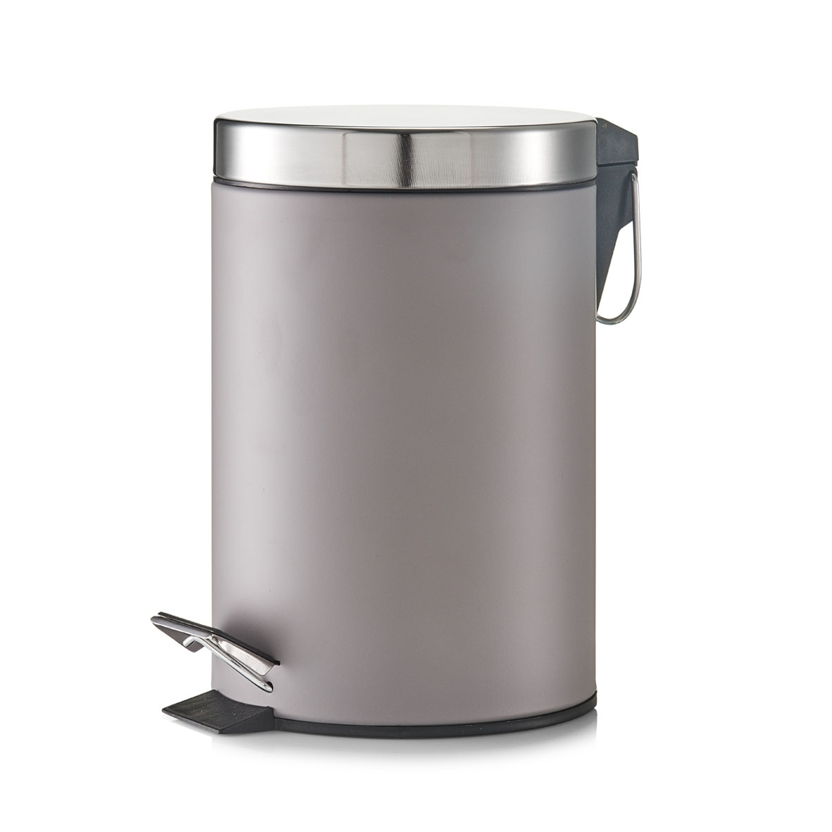 Cos de gunoi cu pedala pentru baie, Metal, Capac argintiu, 3L-Gri