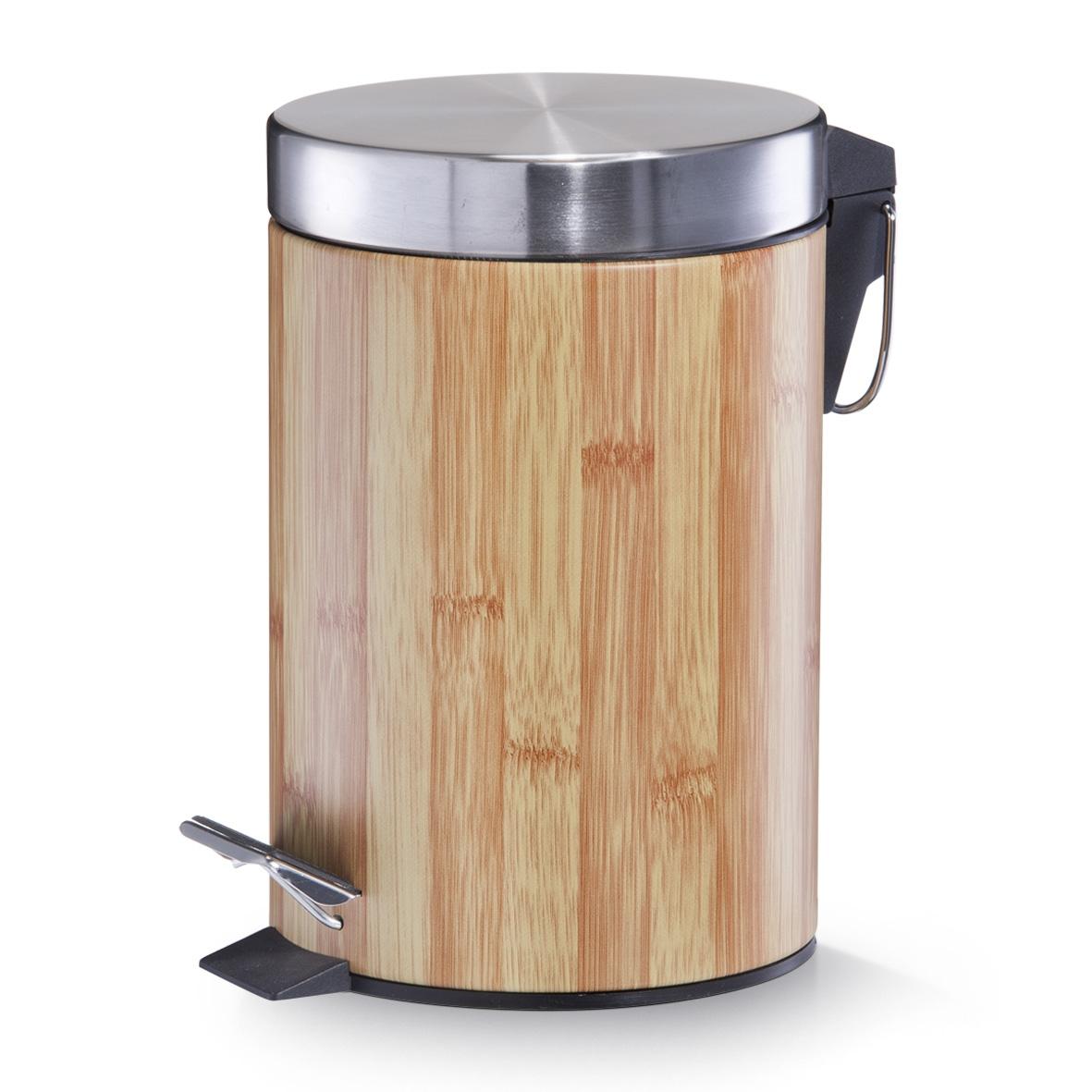Cos de gunoi cu pedala pentru baie, Metal, Bamboo Optic, 3L imagine