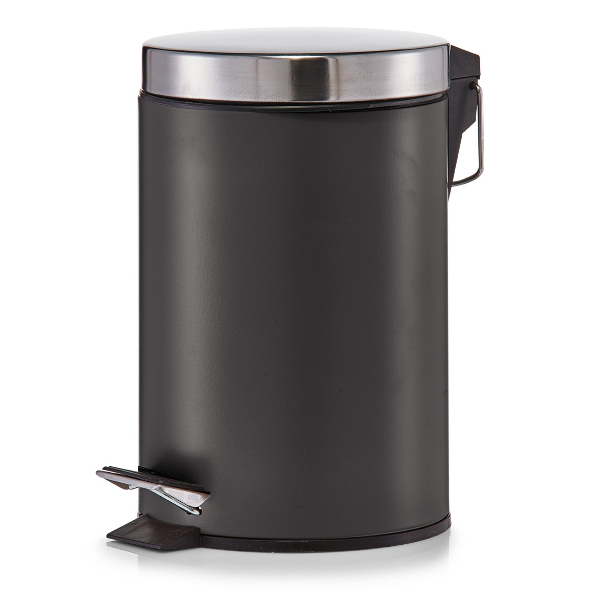 Cos de gunoi cu pedala pentru baie, Metal, Matte, 3L-Negru poza