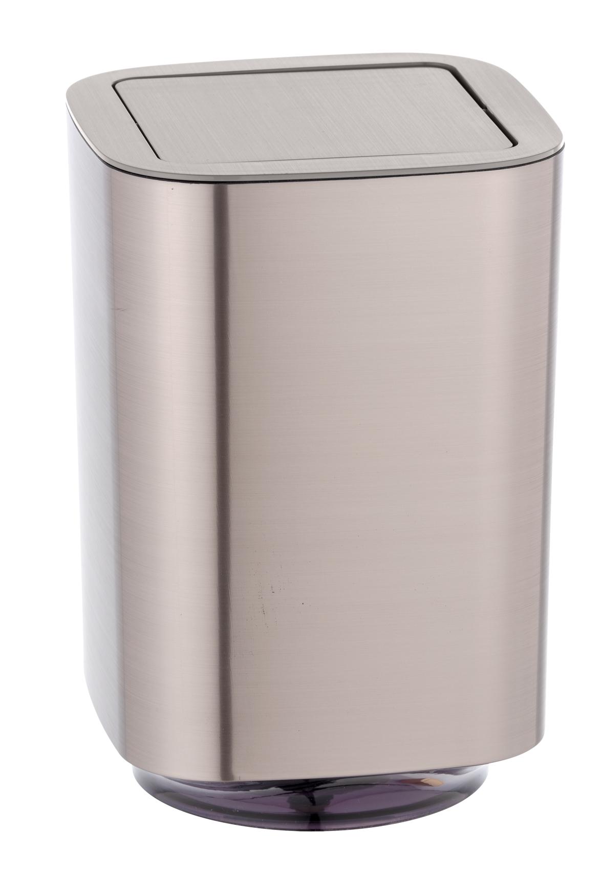 Cos de gunoi pentru baie, din plastic, Auron Argintiu, 5,5L, L17,2xl17,2xH25,5 cm imagine