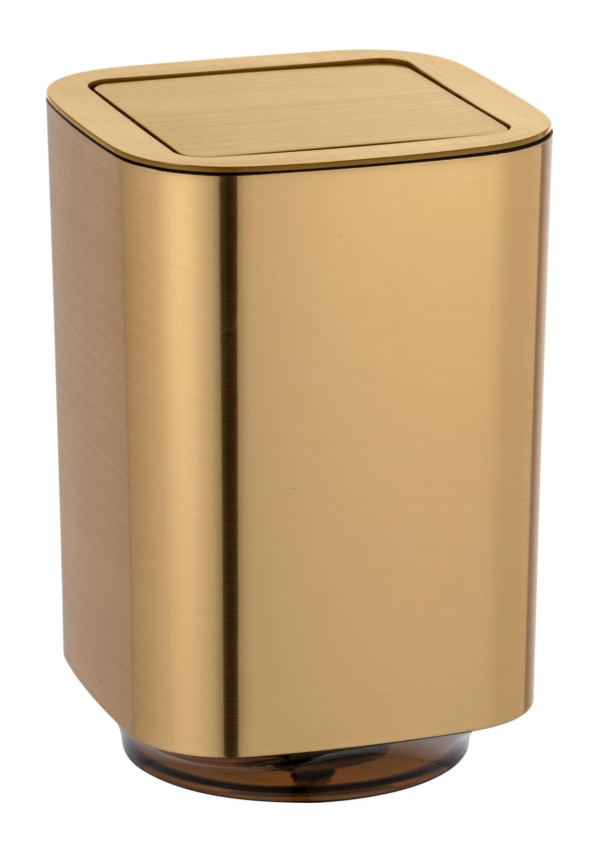 Cos de gunoi pentru baie, din plastic, Auron Auriu, 5,5L, L17,2xl17,2xH25,5 cm imagine