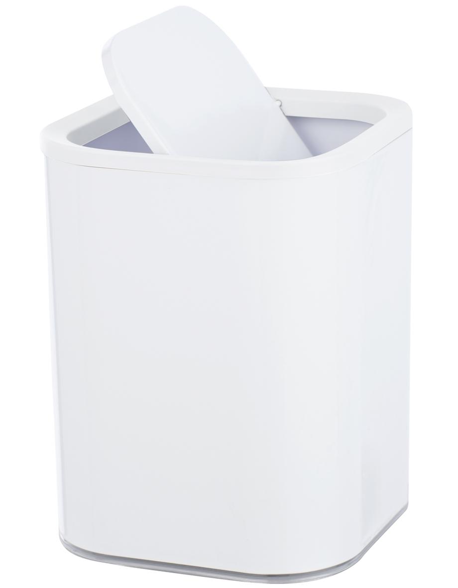 Cos de gunoi pentru baie, din plastic, Oria Alb, 7L, L19,5xl19,5xH25 cm imagine