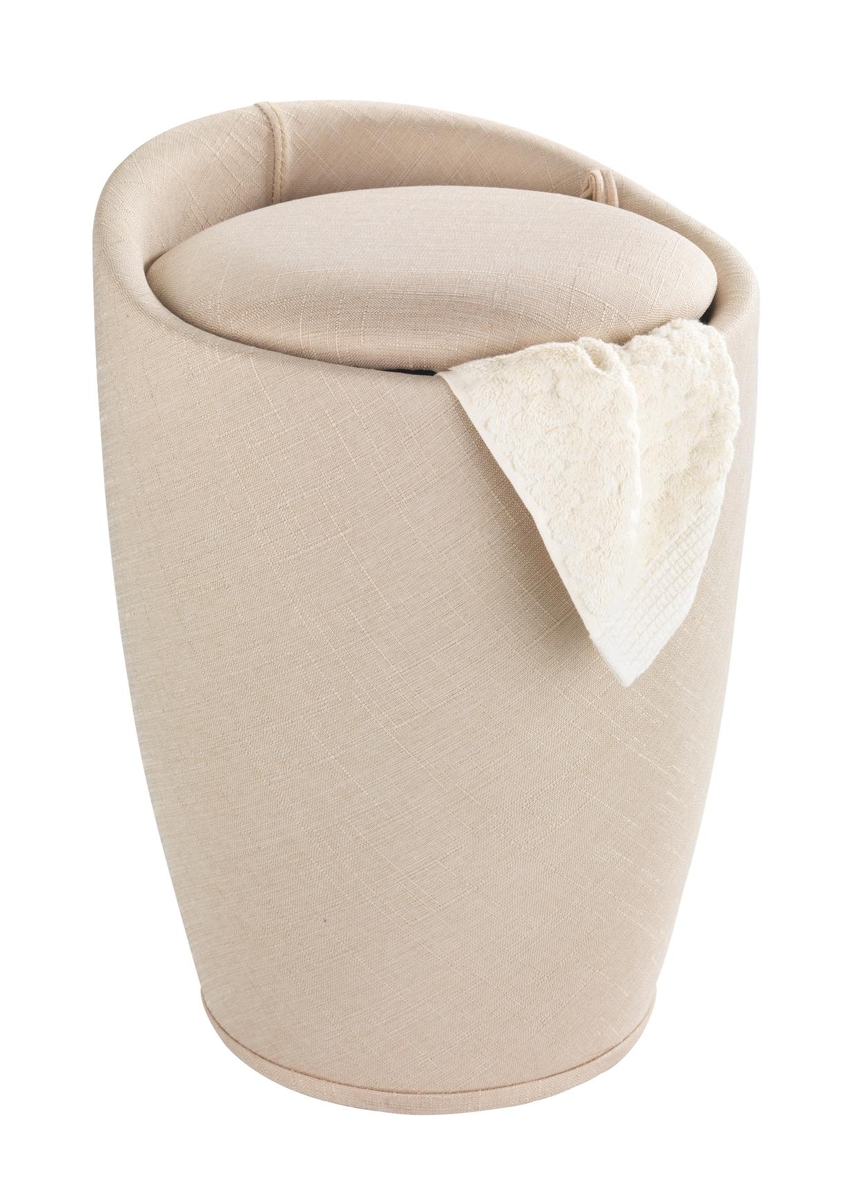 Cos de rufe / Taburet din plastic, tapitat cu stofa, Candy Bej, Ø36xH50,5 cm imagine