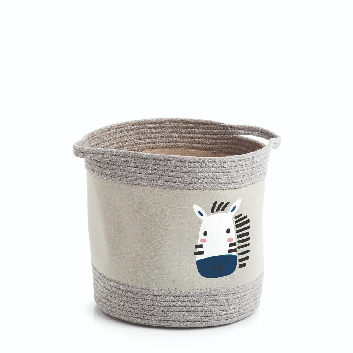 Cos depozitare cu manere, pentru copii, Zebra Multicolor, Ø30xH30 cm