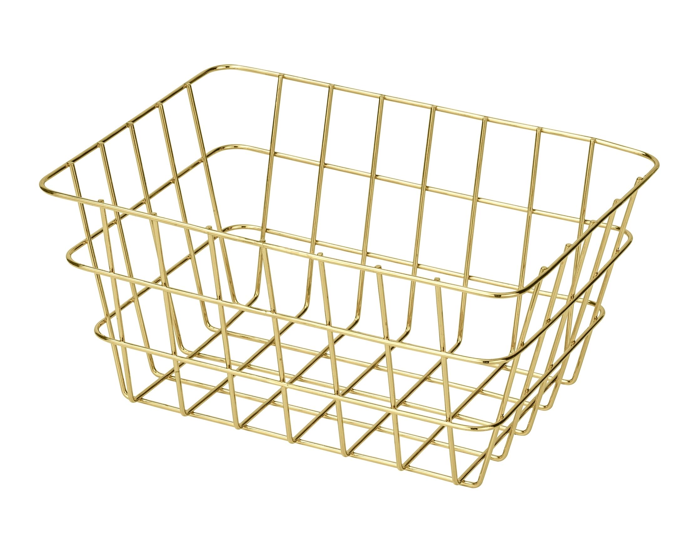 Cos metalic pentru depozitare, Viana Auriu, l18xA12xH25 cm