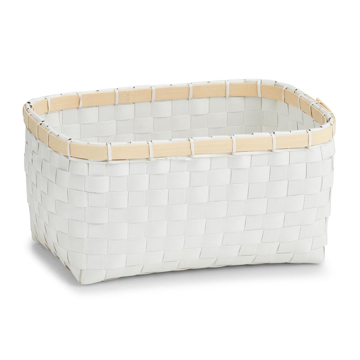 Cos pentru depozitare, Plastic White Bamboo, l27xA18xH13,5 cm