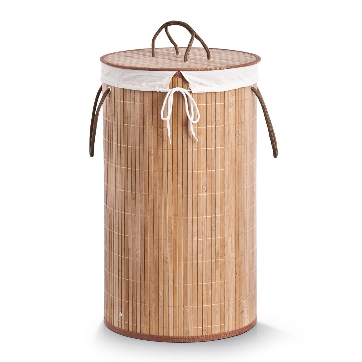 Cos pentru rufe cu capac Cotton Natural Bamboo O 35xH60 cm