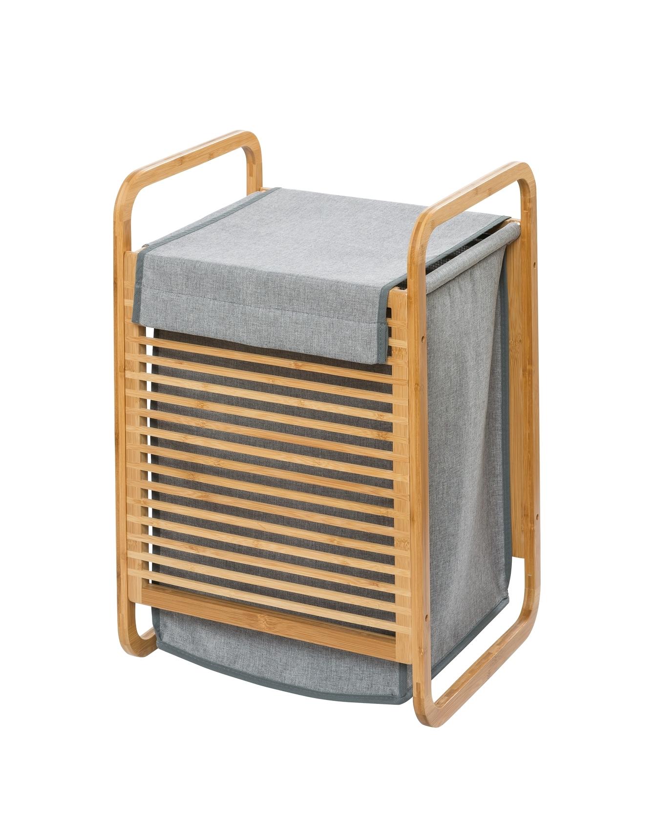 Cos pentru rufe cu capac, din bambus si textil, Bahari Gri Deschis, l40xA35xH60 cm
