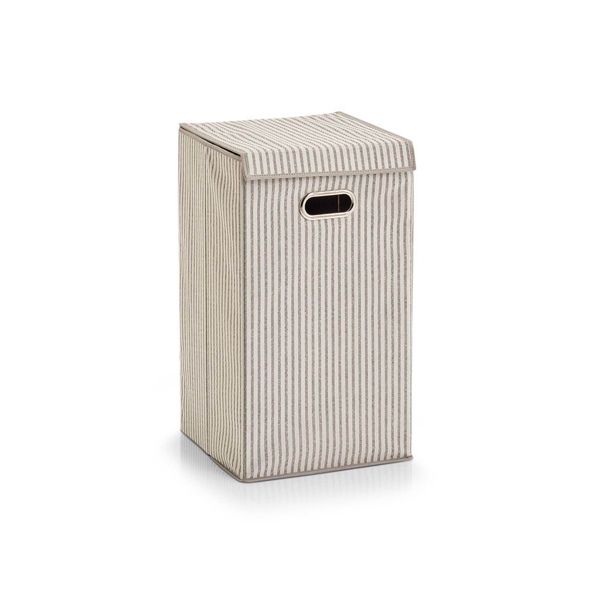 Cos pentru rufe cu capac, Fleece, Beige Stripes, l32xA32xH57 cm imagine