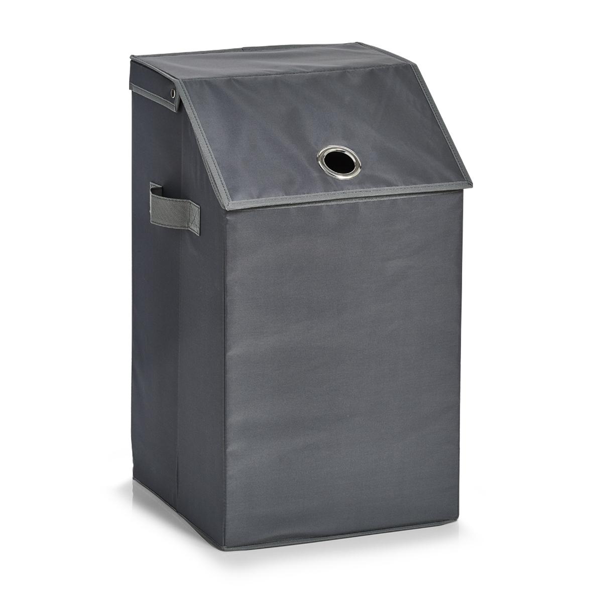 Cos pentru rufe cu capac Home, Anthracite Poliester, l34xA34xH60 cm imagine