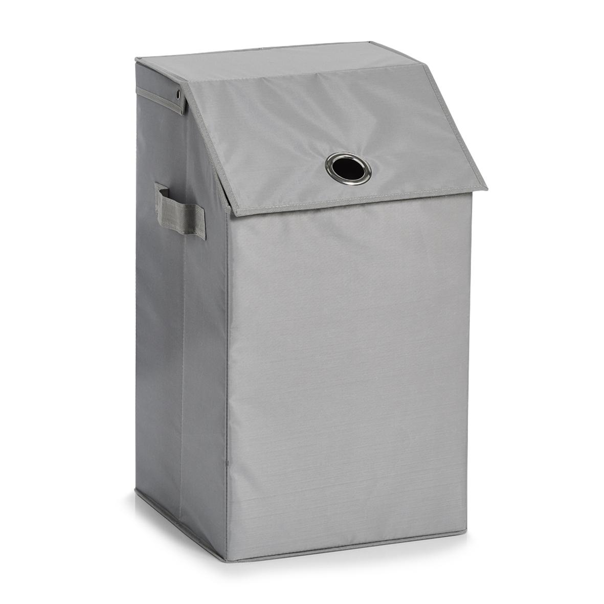 Cos pentru rufe cu capac Home, Grey Poliester, l34xA34xH60 cm imagine