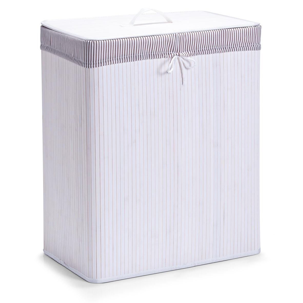 Cos pentru rufe cu capac si 2 compartimente Cotton White Bamboo l52xA32xH63 cm