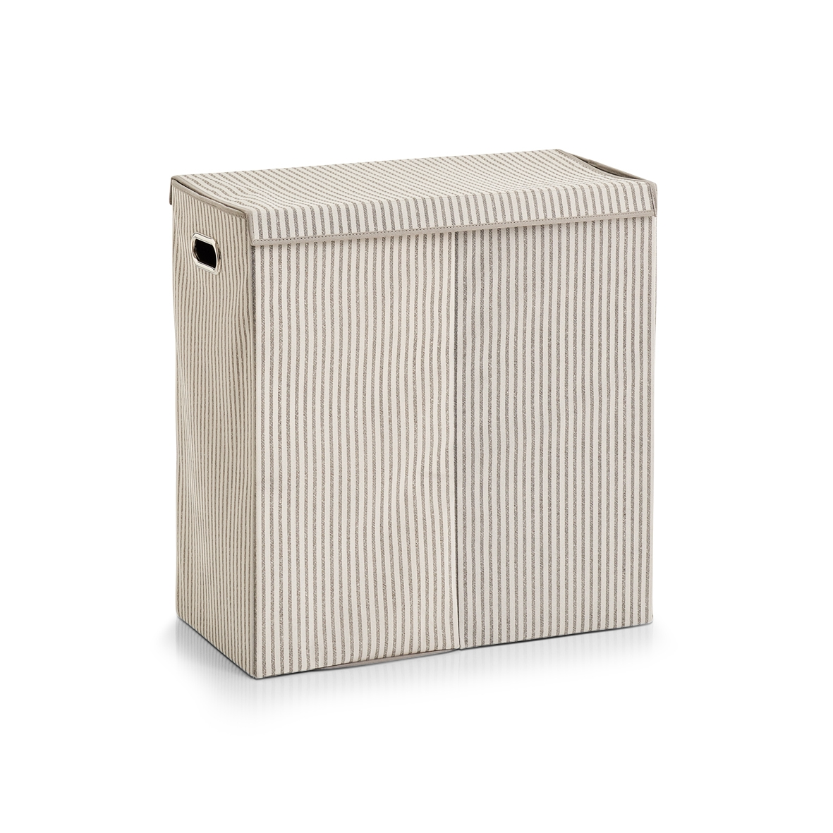 Cos pentru rufe cu capac si 2 compartimente, Fleece, Bej Stripes, l61,5xA31xH63 cm imagine