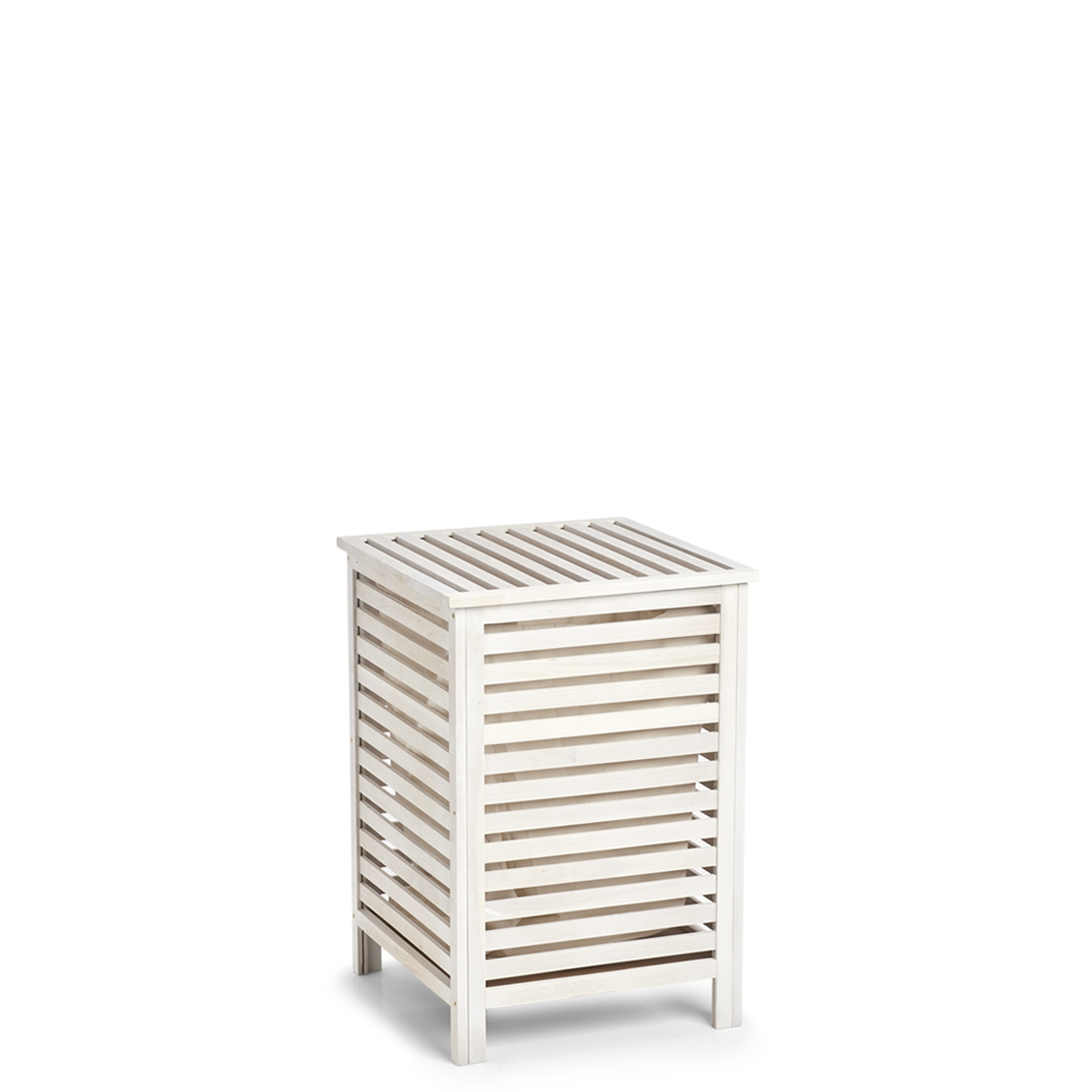 Cos pentru rufe cu capac Wood, Alb / Natural, l45xA45xH65,5 cm poza