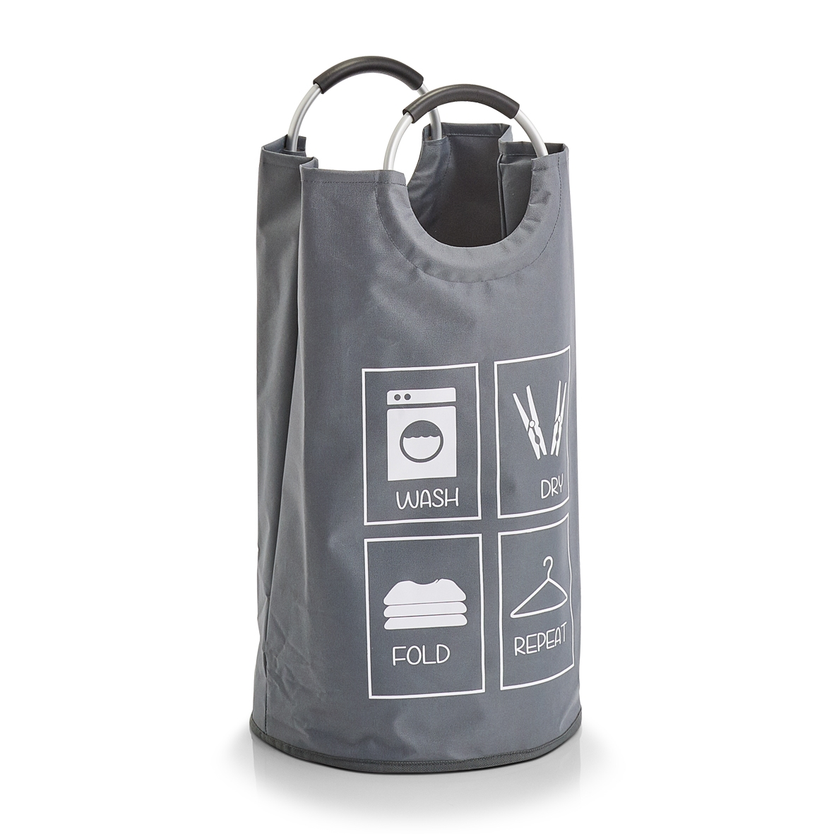 Cos pentru rufe cu manere Design, Poliester Grey, Ø 36xH72 cm