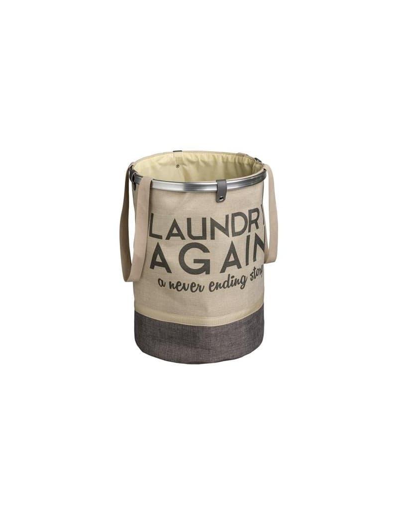 Cos pentru rufe cu manere, Laundry Again Crem / Maro, Ø37xH50 cm somproduct.ro