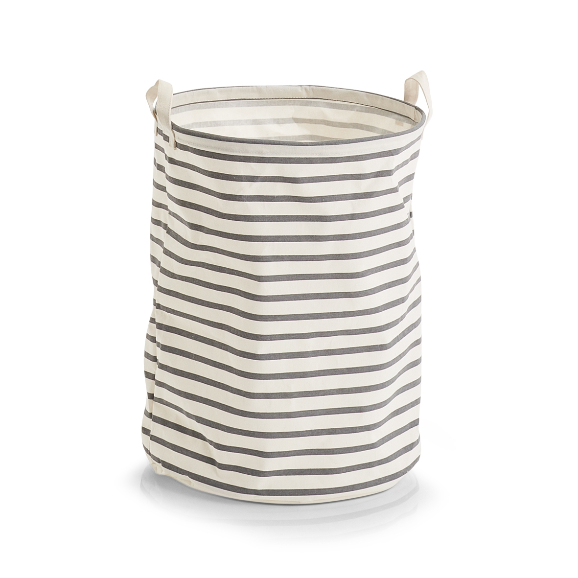 Cos pentru rufe din panza, Stripes Gri, Ø 38xH48 cm somproduct.ro