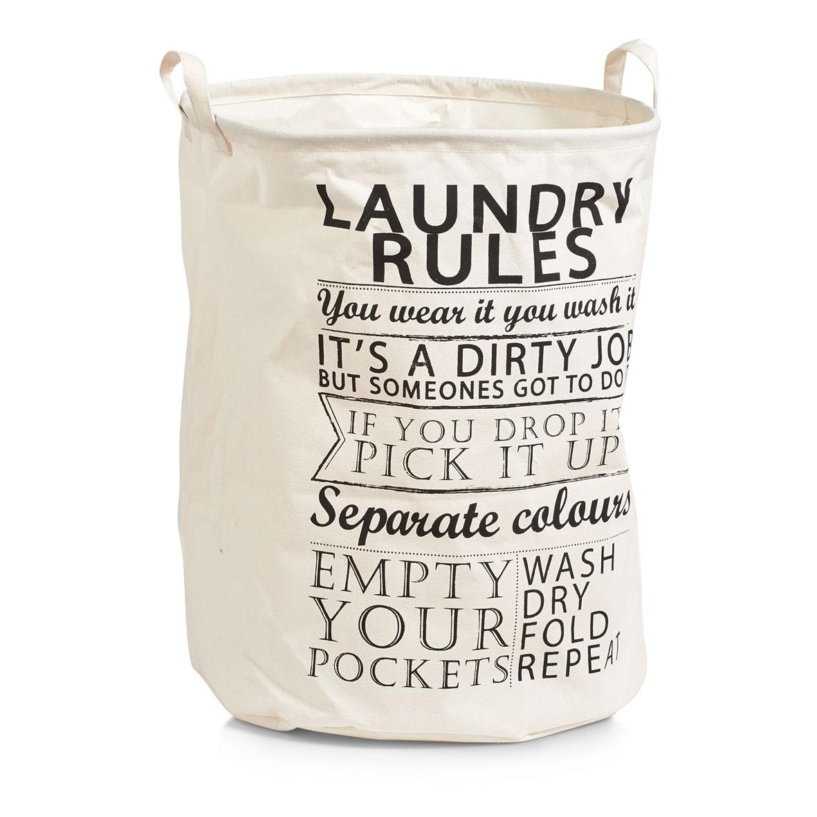 Cos pentru rufe din panza, Laundry Rules Bej, Ø 38xH48 cm imagine