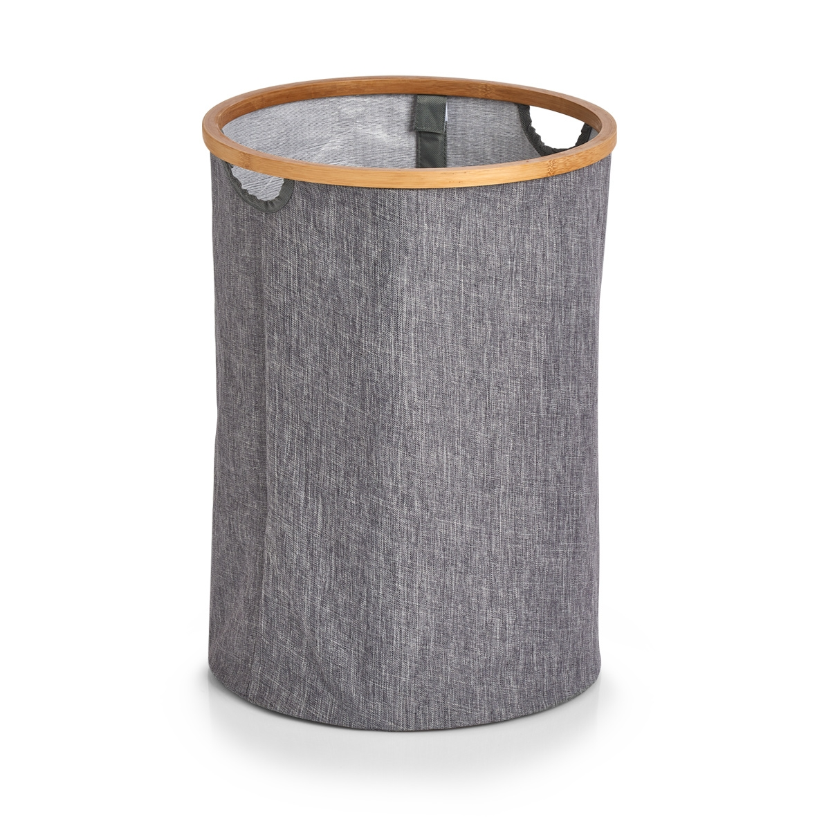 Cos pentru rufe din poliester, Hamper Gri, Ø36xH50 cm imagine