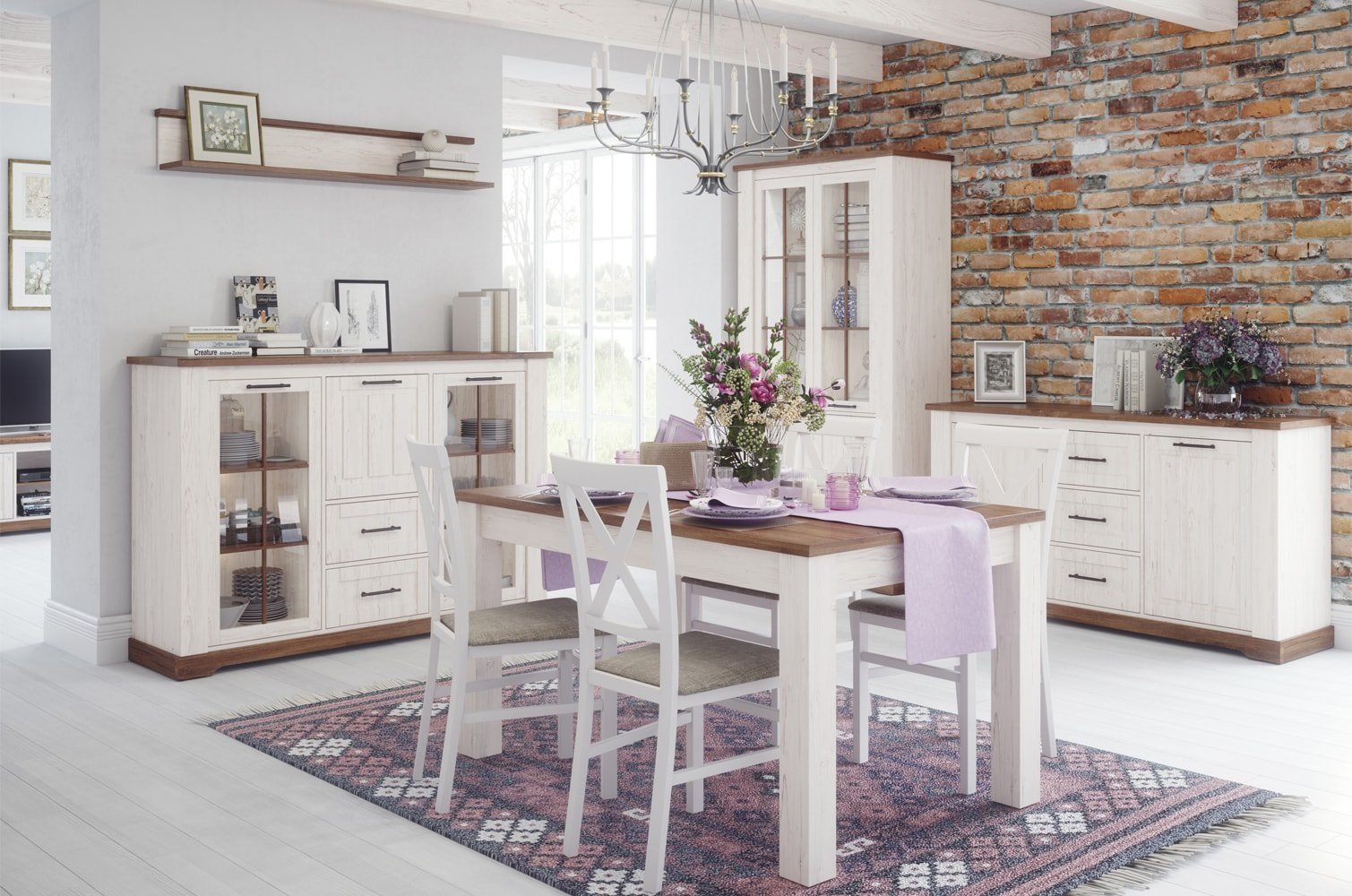 Set de mobila dining din pal, 5 piese Country Alb / Stejar