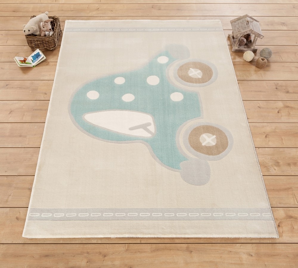 Covor pentru copii Baby Boy Cream / Turquoise, 133 x 190 cm imagine