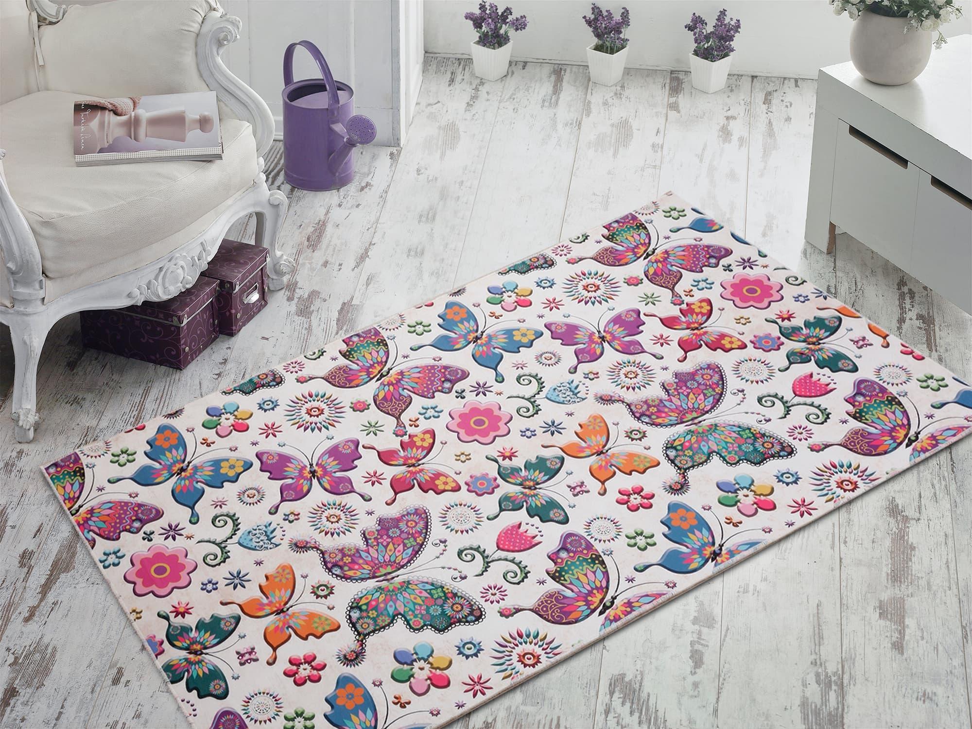 Covor pentru copii Butterfly 2008 Multicolor, 80 x 120 cm imagine