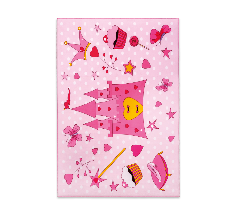 Covor pentru copii din PE Soft Princess Pink, 100 x 150 cm