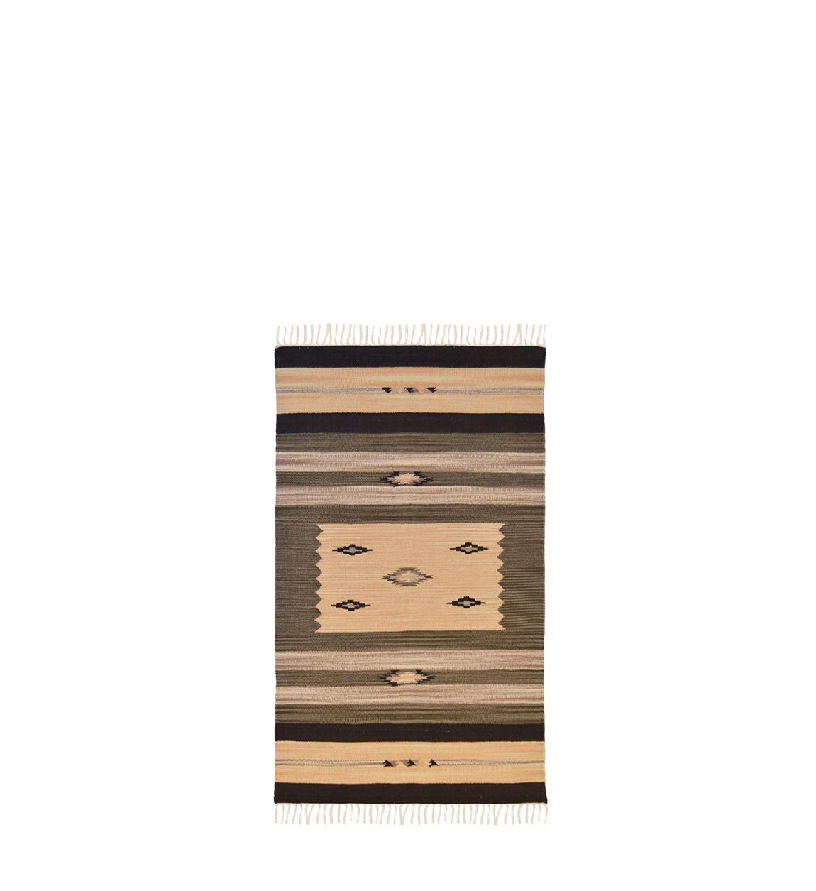 Covor tesut din bumbac Durrie S Gri, 55 x 90 cm poza