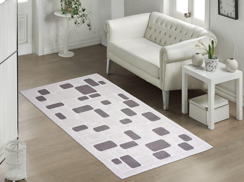 Covor tesut din bumbac Mozaik Bej, 80 x 150 cm imagine