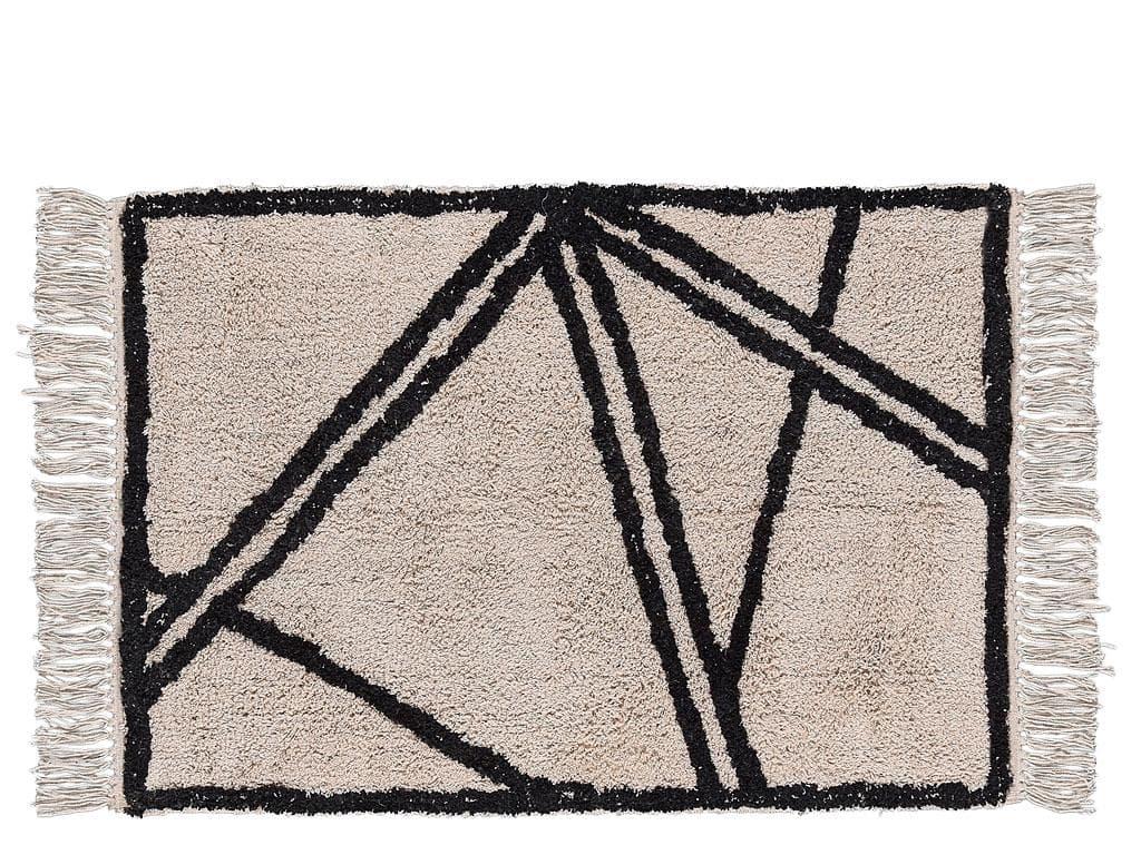 Covor tesut din bumbac Nature 340828 Bej / Negru, 60 x 90 cm, Villa Collection poza