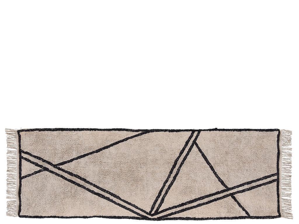Covor tesut din bumbac Nature 340830 Bej / Negru, 70 x 200 cm, Villa Collection poza