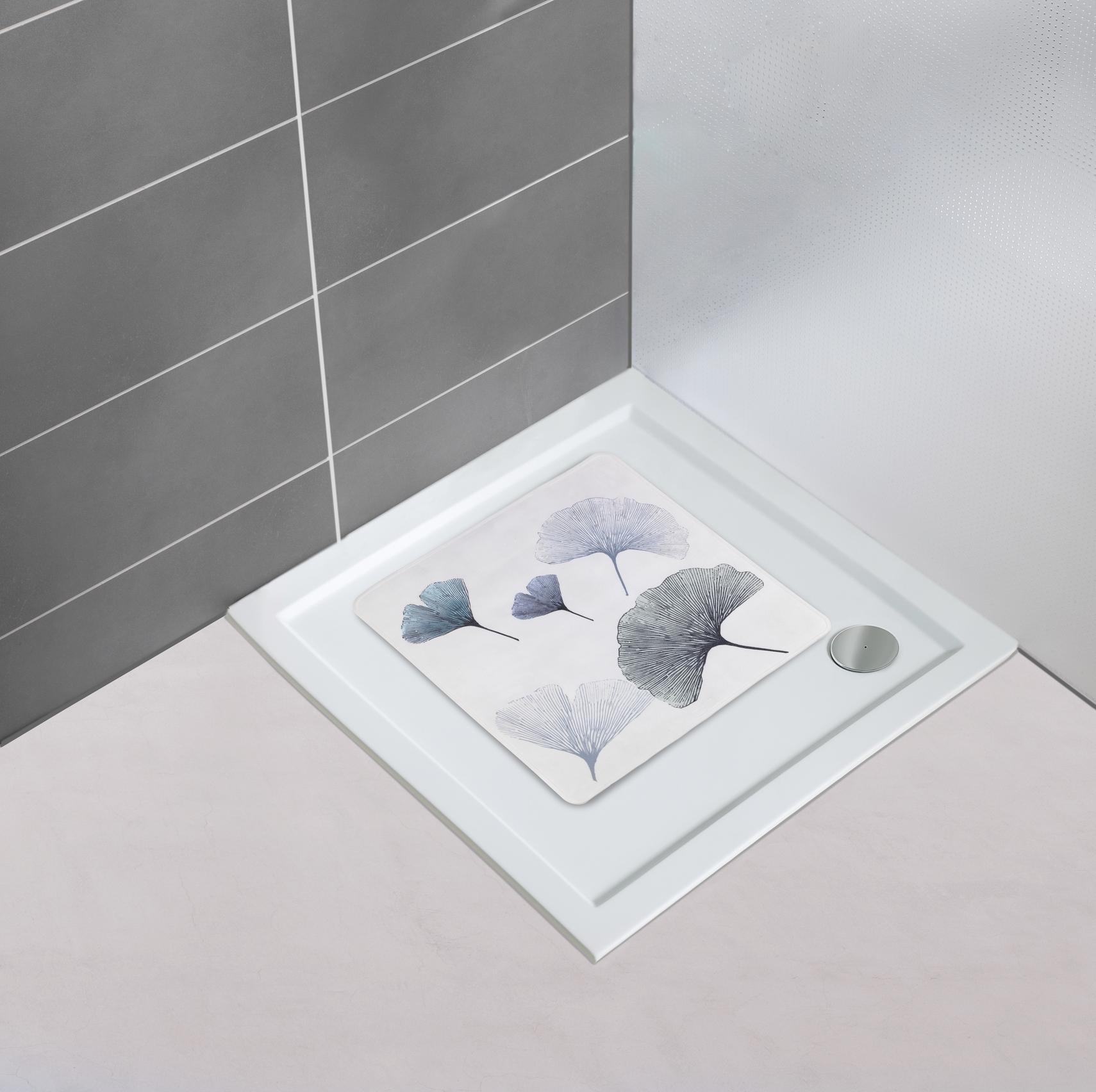 Covoras pentru baie antiderapant, din TPR, Ginkgo Multicolor, 54 x 54 cm imagine