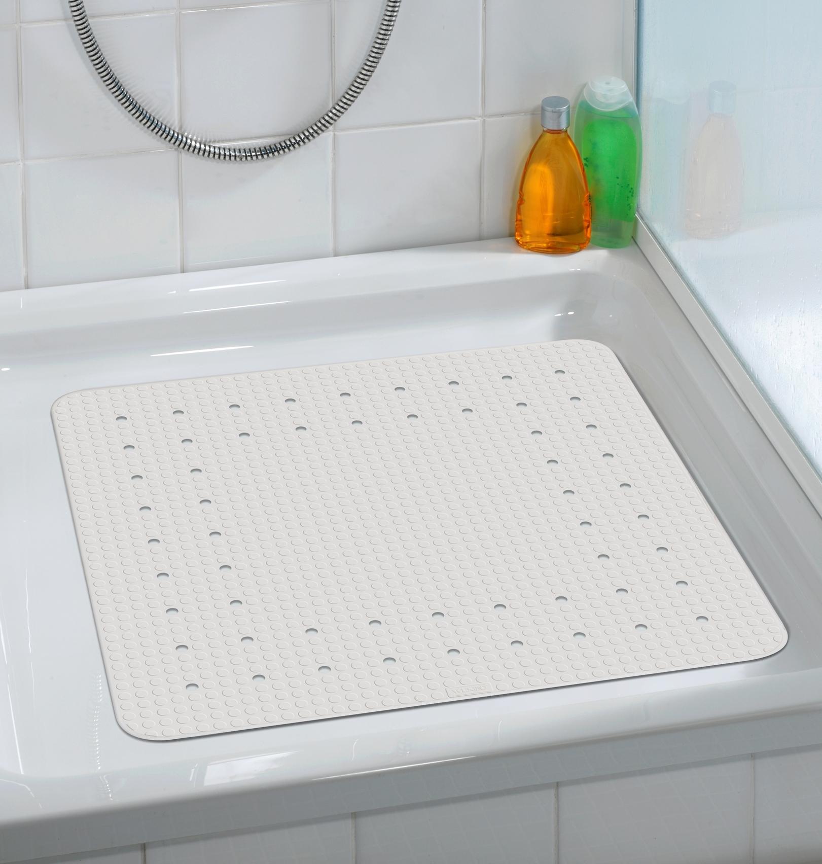 Covoras pentru baie antiderapant, din TPR, Mirasol Alb, 54 x 54 cm imagine