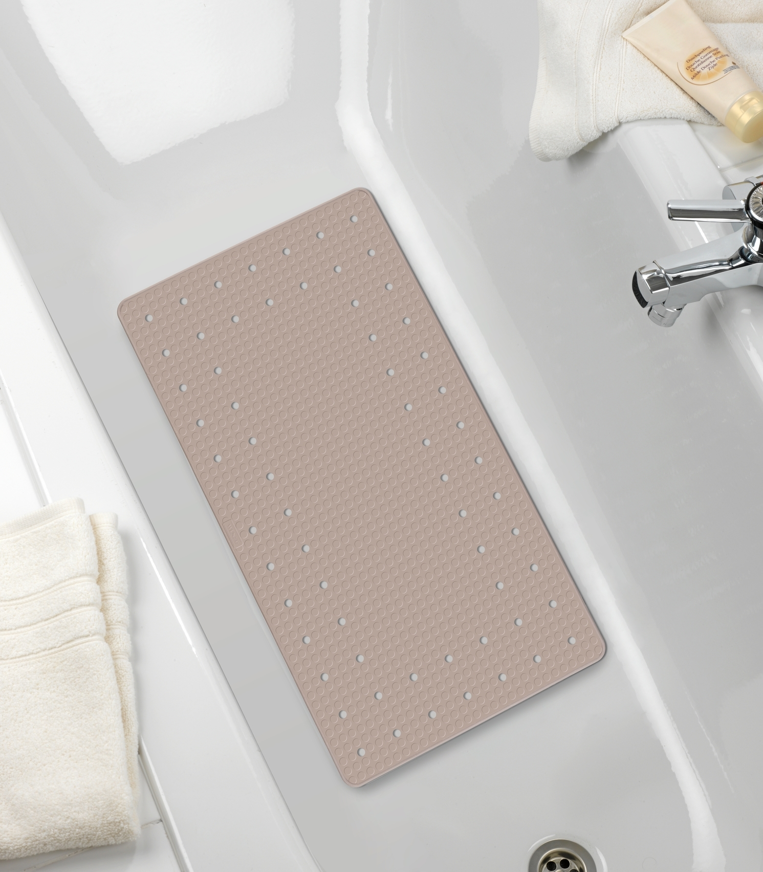 Covoras pentru baie antiderapant, din TPR, Mirasol Taupe, 39 x 69 cm imagine