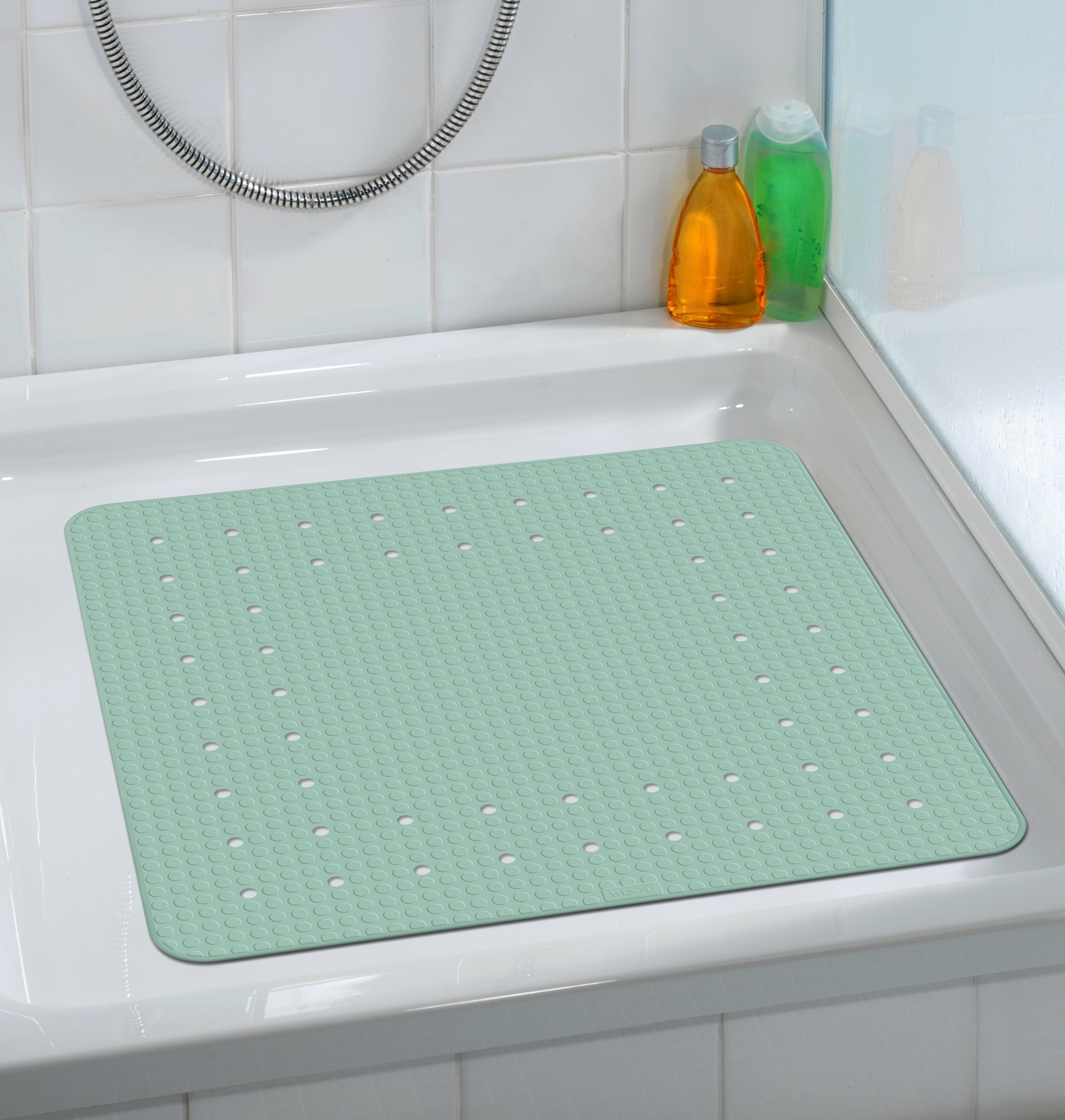 Covoras pentru baie antiderapant, din TPR, Mirasol Verde Mint, 54 x 54 cm imagine