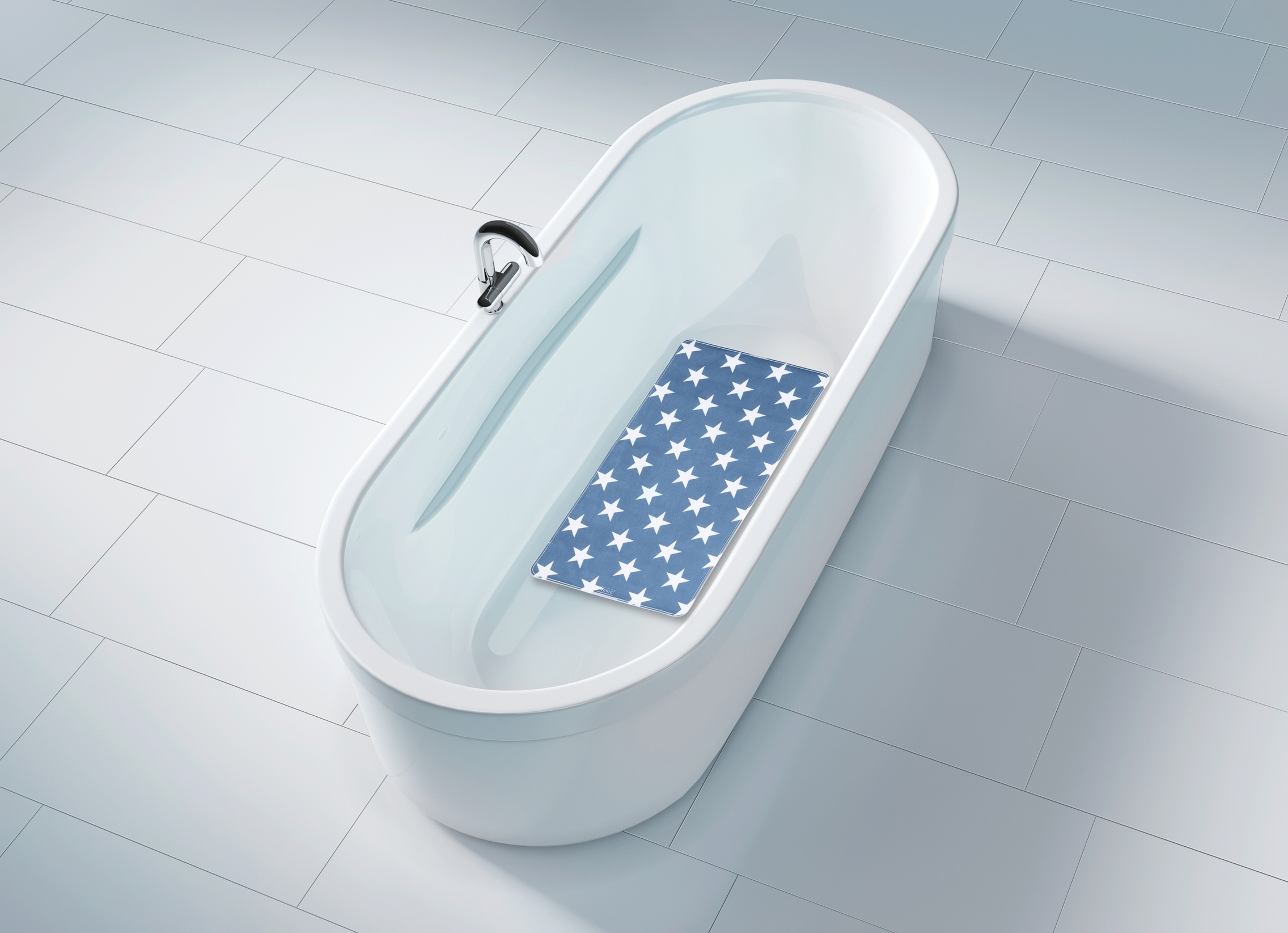 Covoras pentru baie antiderapant, din TPR, Stella Albastru, 40 x 70 cm imagine