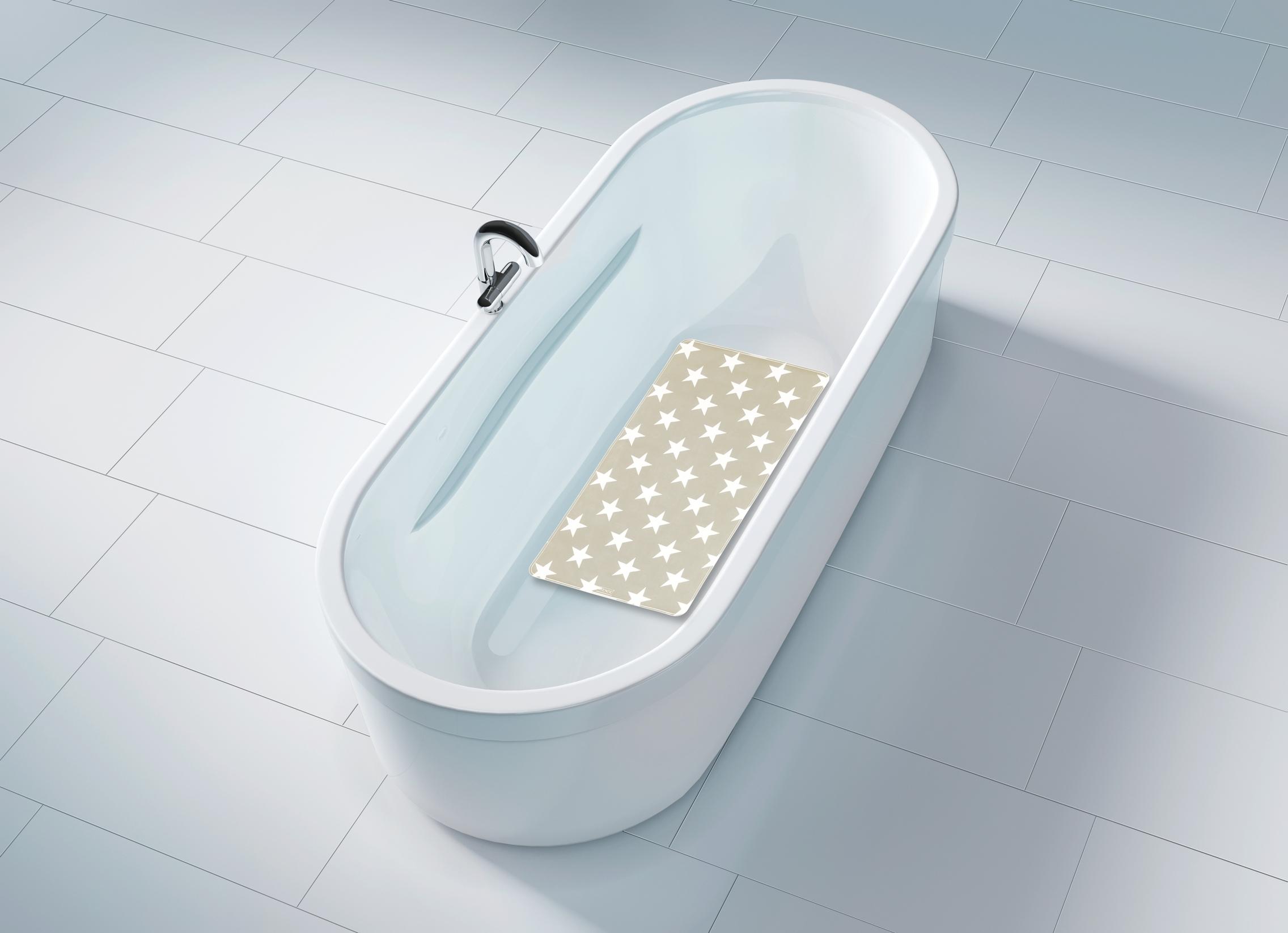 Covoras pentru baie antiderapant, din TPR, Stella Taupe, 40 x 70 cm poza
