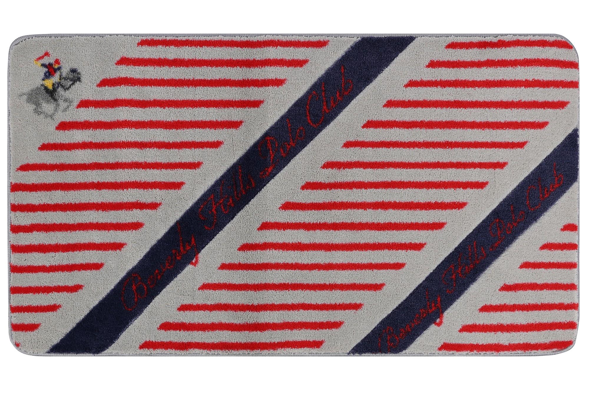 Covoras pentru baie Beverly Hills Polo Club 312 Rosu / Gri / Bleumarin, 67 x 120 cm imagine