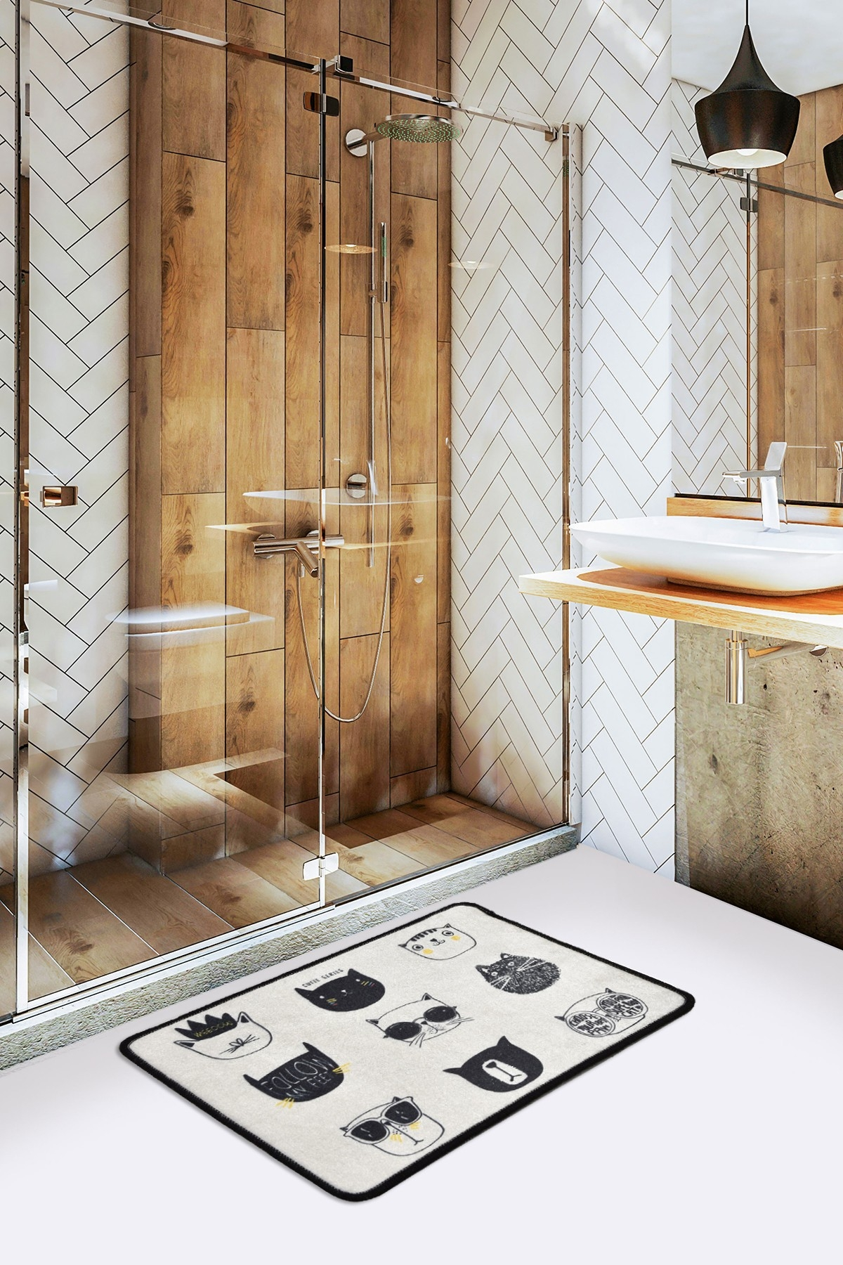 Covoras pentru baie Cutie Alb / Negru, 40 x 60 cm imagine