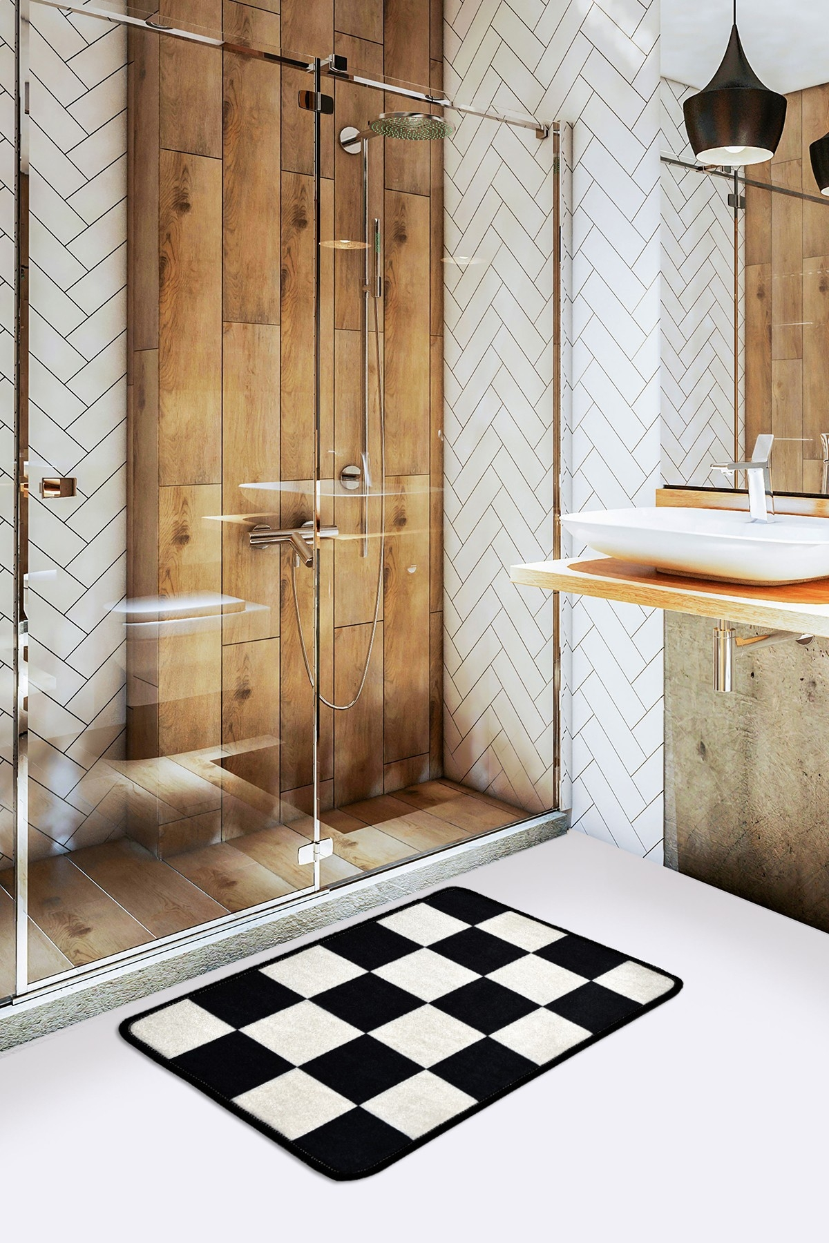 Covoras pentru baie Dama Alb / Negru, 40 x 60 cm poza
