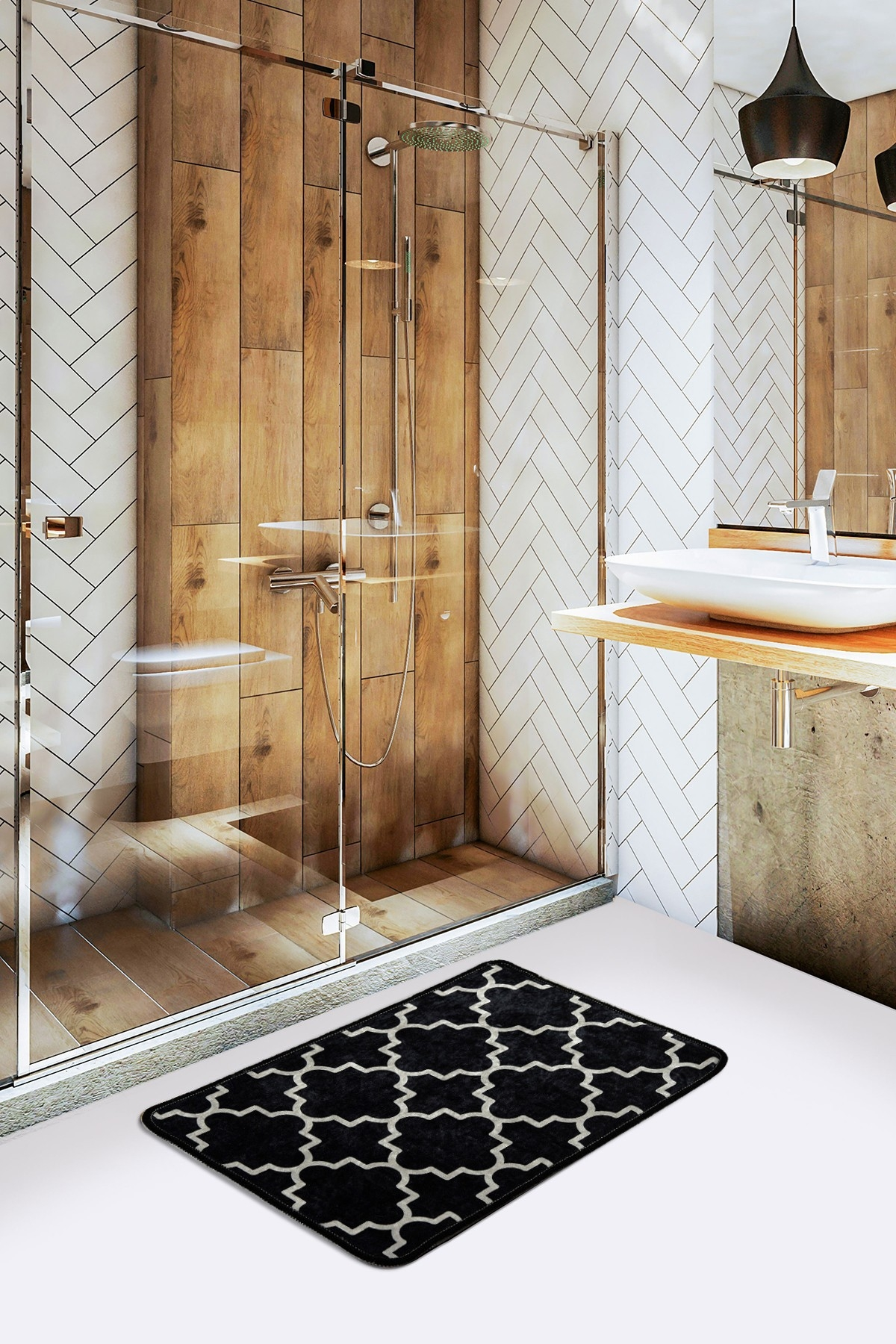Covoras pentru baie Kupa Negru / Alb, 40 x 60 cm poza