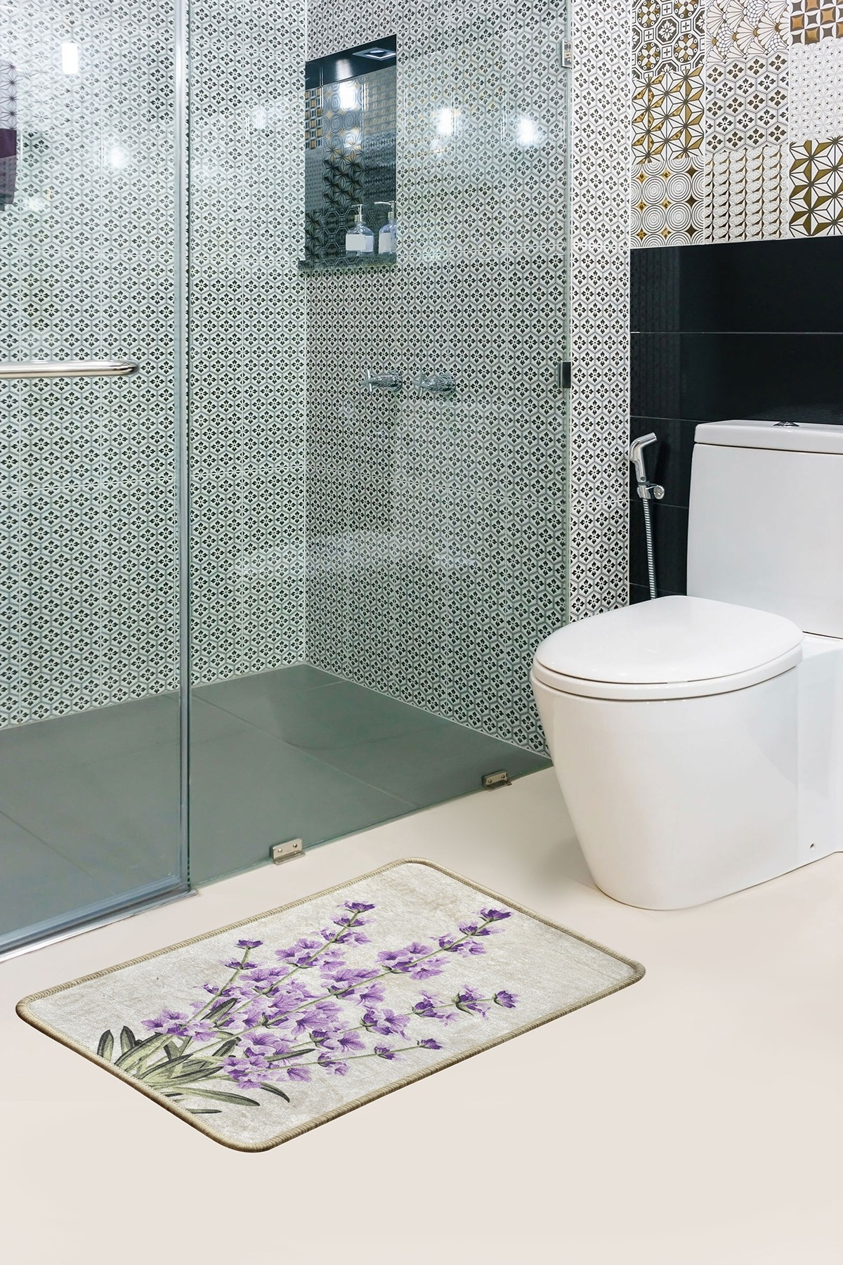 Covoras pentru baie Lavender Multicolor, 40 x 60 cm poza